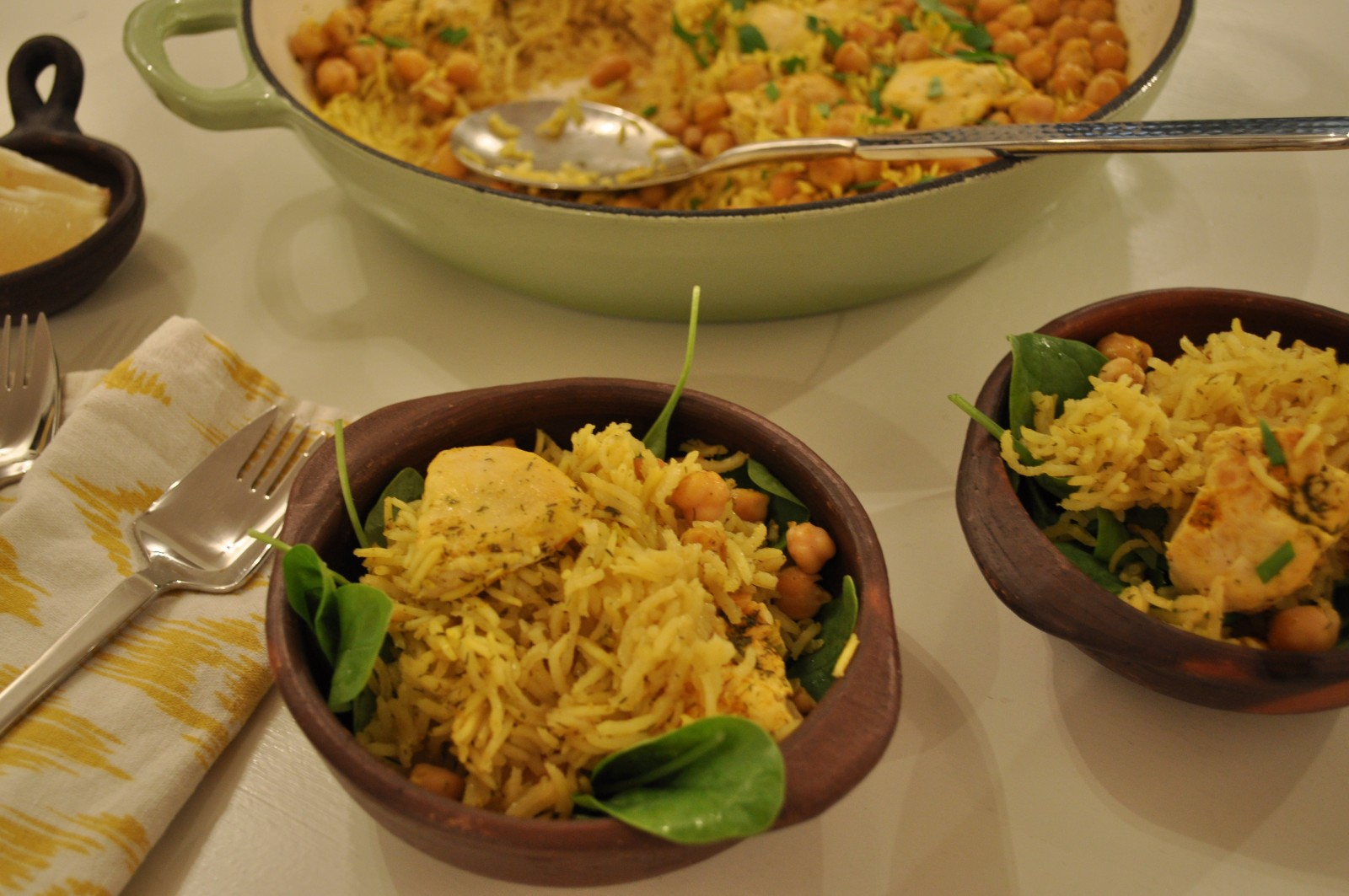 Chicken and chicpea pilaf