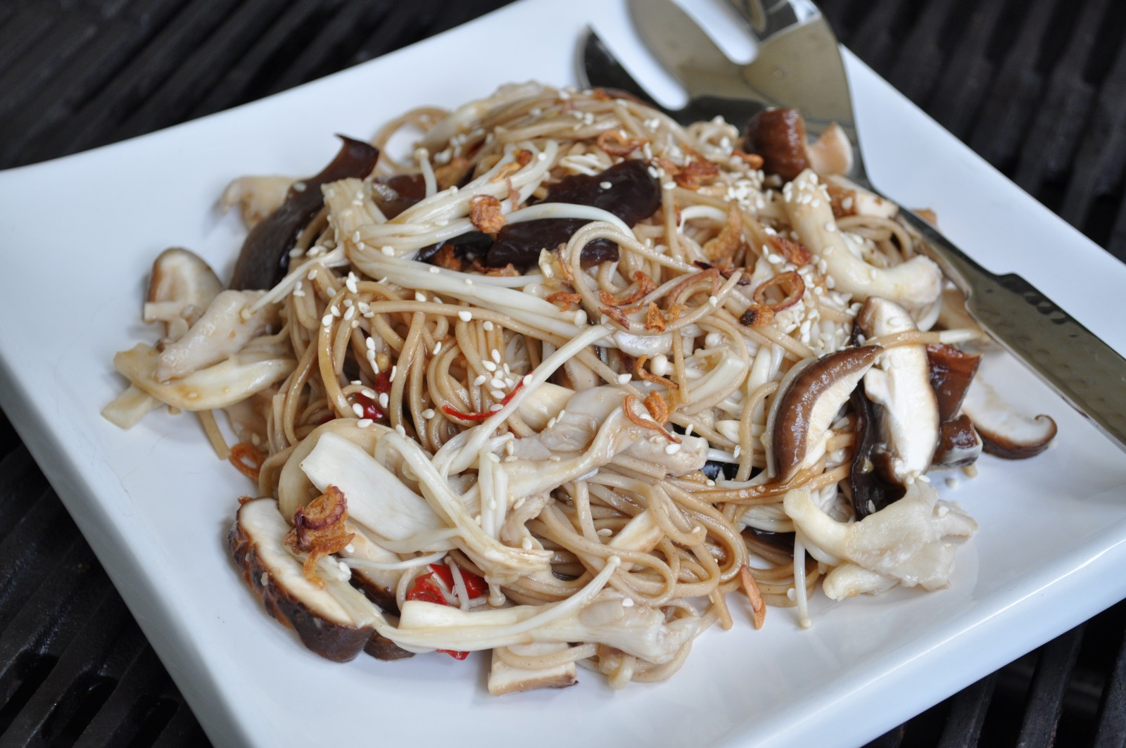 Warm mushroom and soba noodle salad