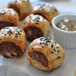 Caramelised onion and blue cheese sausage rolls