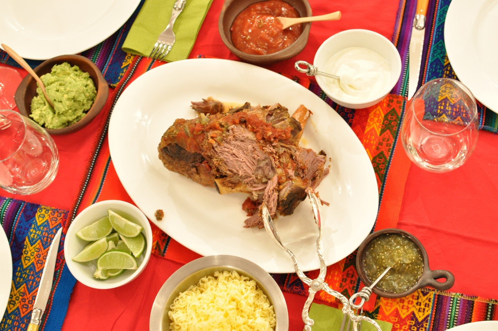 Slow-cooked Mexican leg of lamb