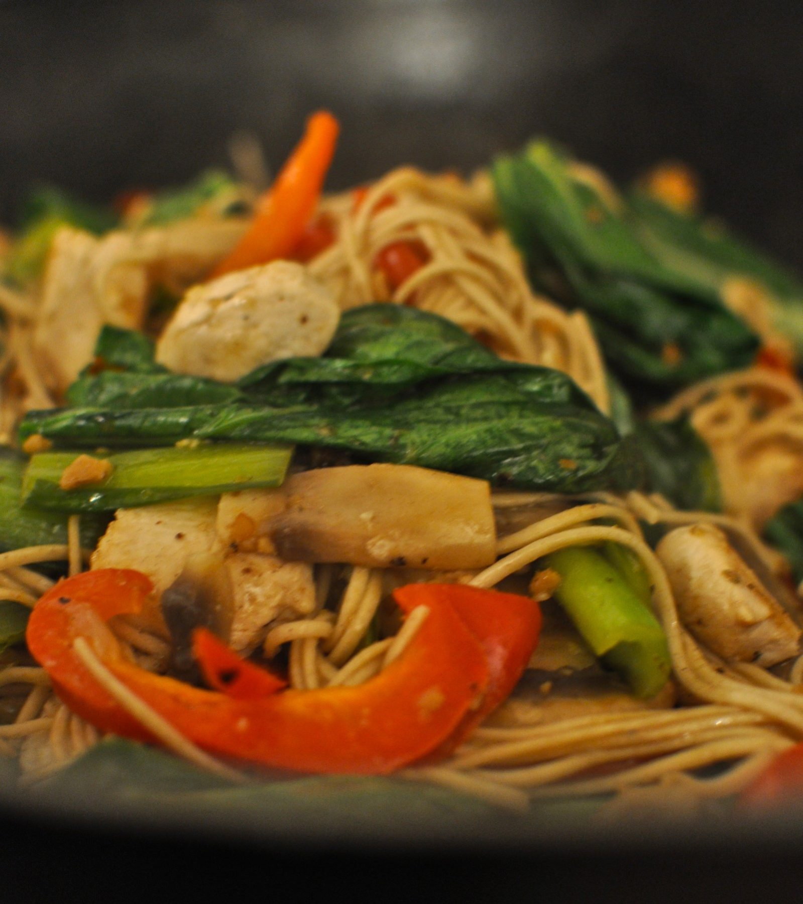 Stir-fried veges with chicken and soba noodles