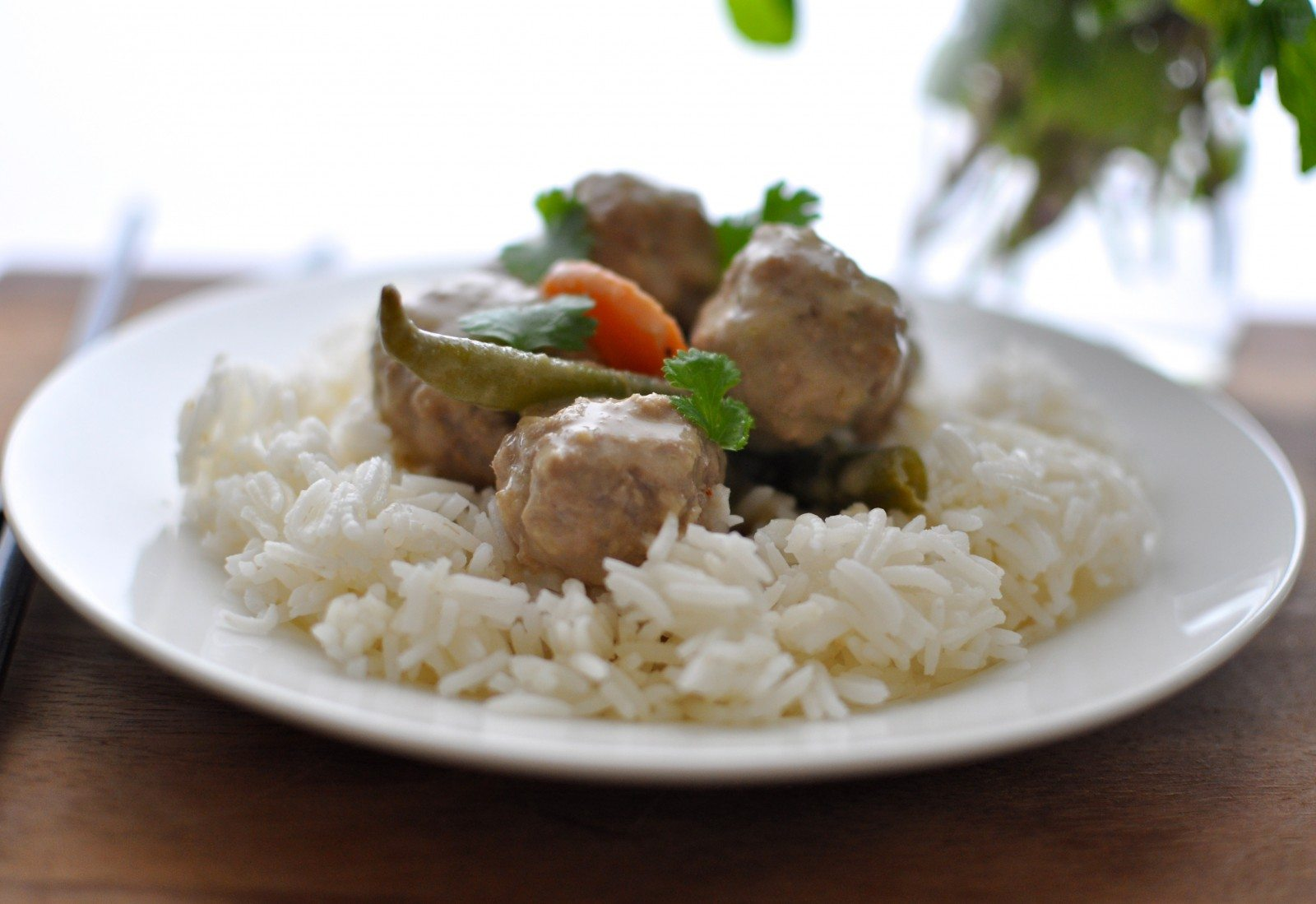 Thai green curry with pork meatballs