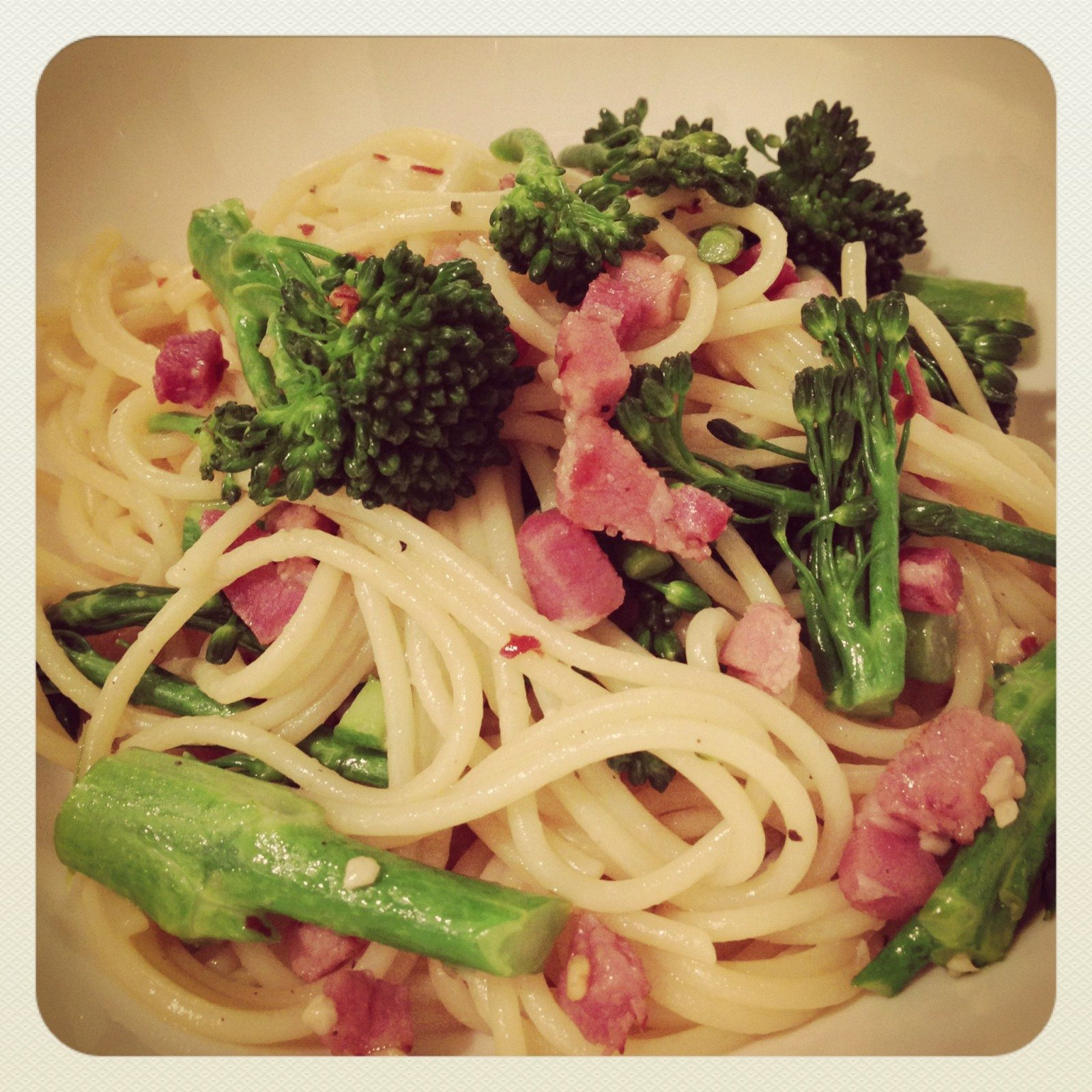 Broccolini, pancetta, garlic and chili spaghetti