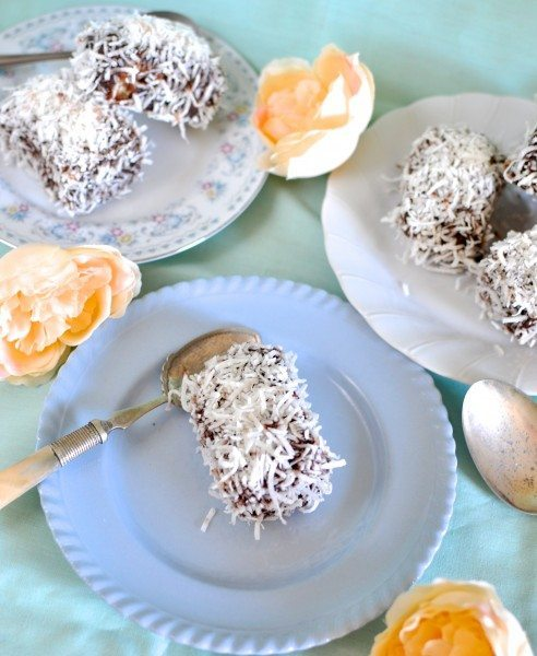Coconut panna cotta lamington