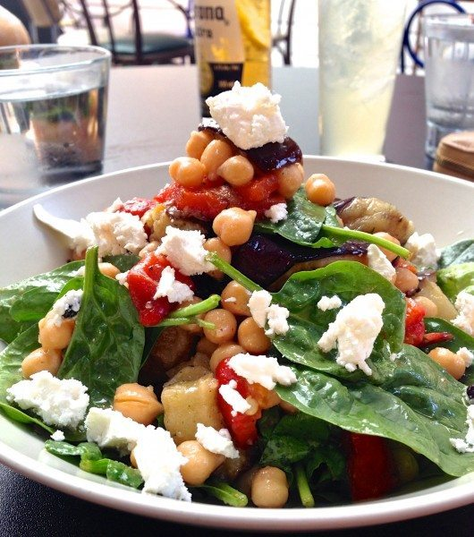 Chick pea salad with grilled eggplant, roasted red peppers,  crumbled feta and lemon dressing $16