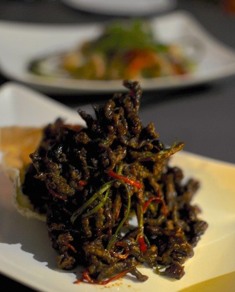 Crispy shredded beef, black beans, sticky barbeque sauce, cassava cracker $22