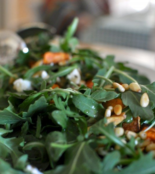 Sweet potato, feta, rocket and pine nut salad