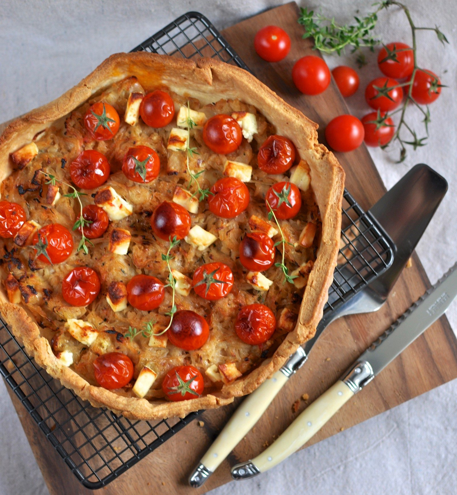 Caramelised onion, tomato & feta tart