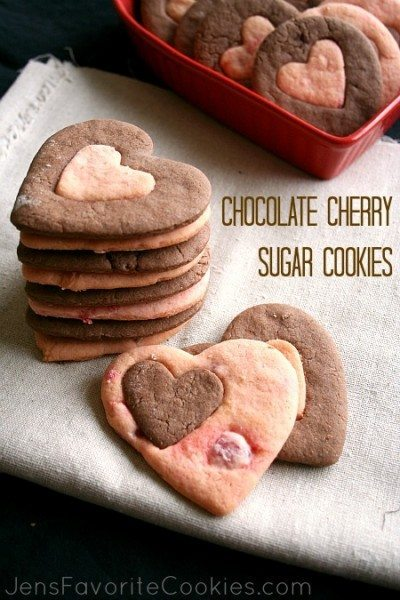 Choc-cherry sugar cookies