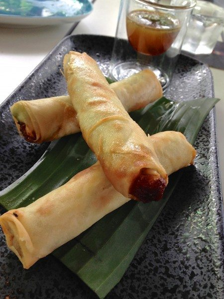 Saigon chicken spring roll  w. soy, orange + ginger dipping sauce [3pce] $15
